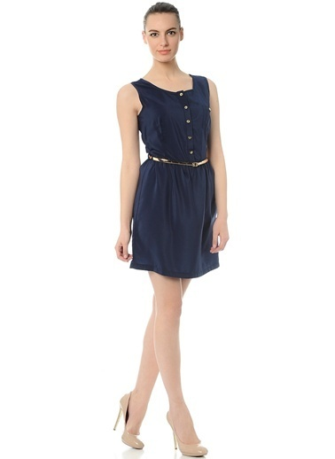 Limon Company Önden Düğmeli Mini Elbise Lacivert
